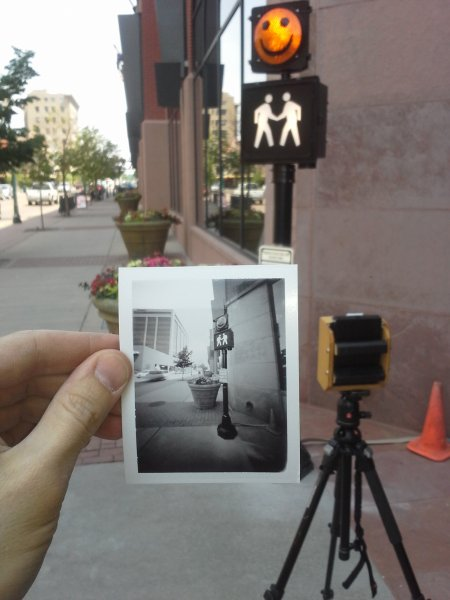 Having fun documenting the new install with a Leonardo Pinhole camera and some Fuji 3000B instant film.